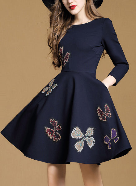 Round Neck Embroidery A-line Dress
