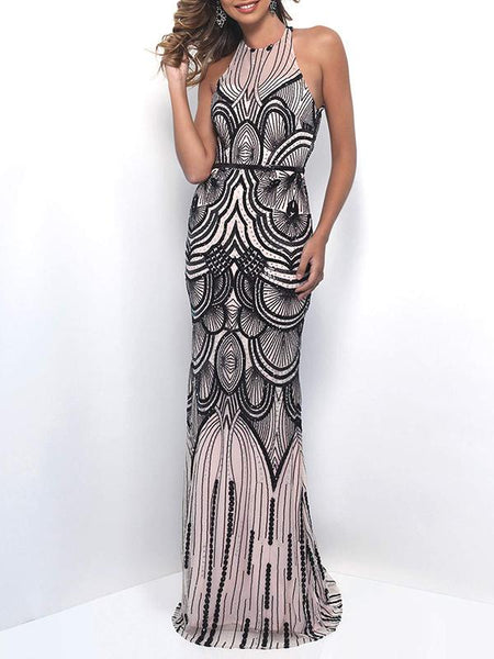 Sequined Backless Evening Dress