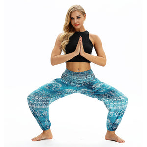 Printed National Style Foot Knickers Loose Fitness Yoga Pants