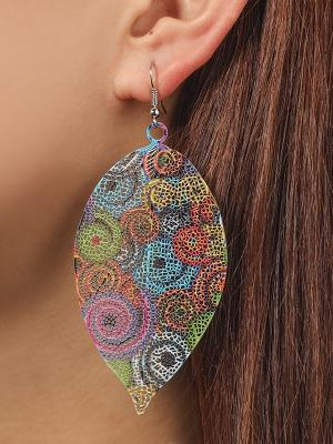 Hollow Leaf Print Metal colorful Earrings