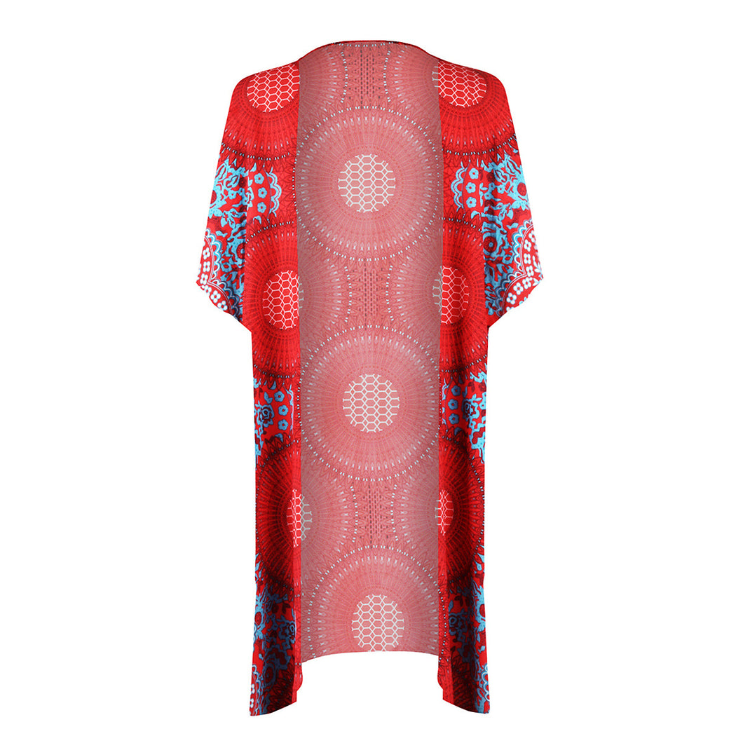 Boho Style Ethnic Datura Printed Women Cover Up