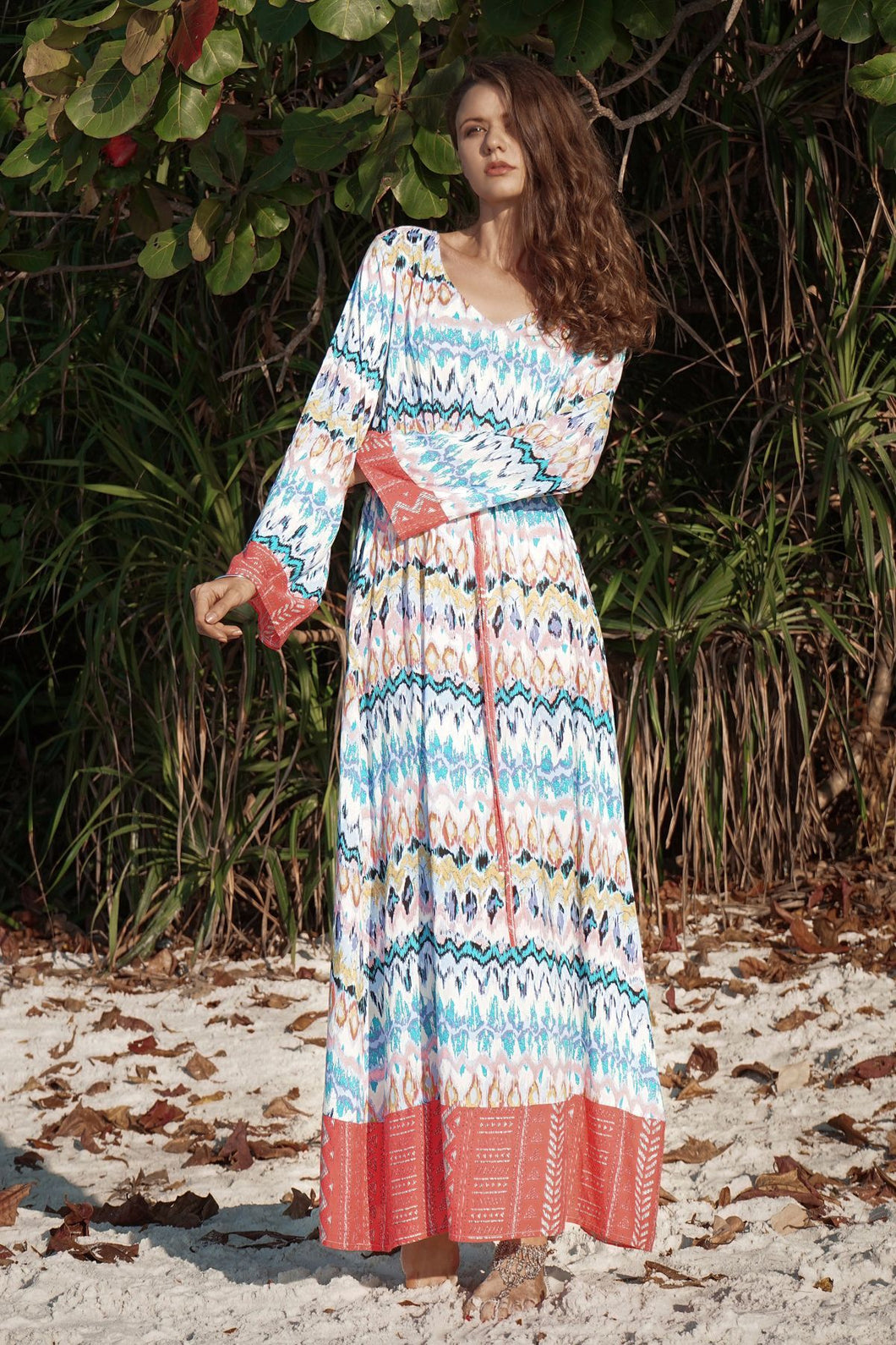 Long Sleeved Large Wave Printed Loose Tie V-neck Long Dress
