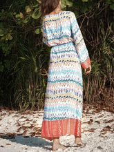 Load image into Gallery viewer, Long Sleeved Large Wave Printed Loose Tie V-neck Long Dress