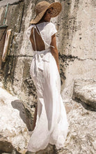 Load image into Gallery viewer, Solid Color Deep V-neck Backless Empire Beach Cover-ups Dress