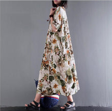 Load image into Gallery viewer, Cotton and Hemp Printing Medium and Long Middle Sleeve Side Sewn Pocket Dress