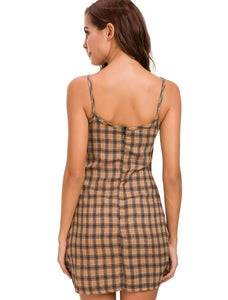 A Large U-collar Latticed Sling Dress
