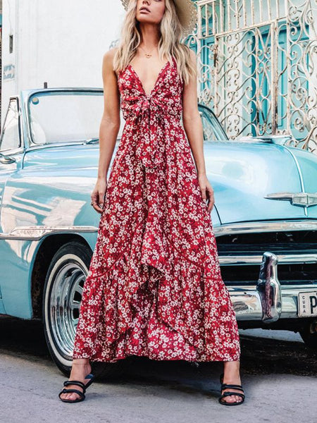 Print Long Bohemian V-Neck Sling Big Swing Dress