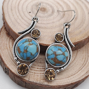 Natural Stone Fashion Jewelry Family Style Long Earrings