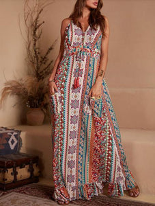 Vintage Boho Ptinted V Neck Spaghetti Strap Sleeveless Falbala Maxi Dress