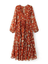 Load image into Gallery viewer, V-neck Floral-Print Maxi Bohemia Dress