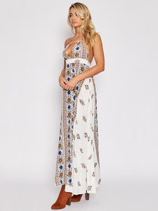 Sexy Floral Halter Backless Boho Beach Maxi Long Dress