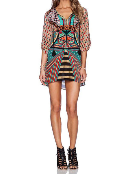 Sexy Vintage Tribal Print Sheer Shift Half Sleeves V Neck Dress