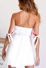 Load image into Gallery viewer, Summer Off Shoulder Embroidered Beach Mini Dress