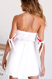 Summer Off Shoulder Embroidered Beach Mini Dress