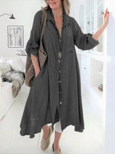 Load image into Gallery viewer, Cotton and Linen Shirt Skirt Women's Cotton and Linen Dress
