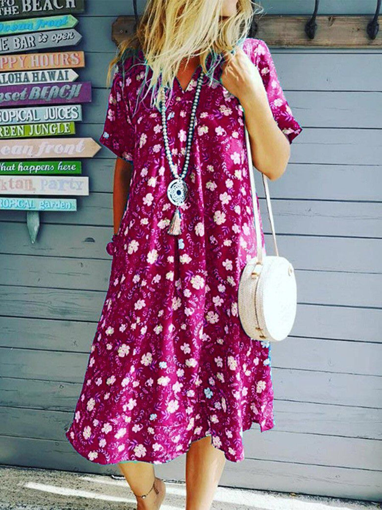 Short Sleeved V-collar Printed Wide Loose Dress
