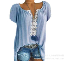 Load image into Gallery viewer, A Short-sleeved Shirt with A Short-sleeved Lace.