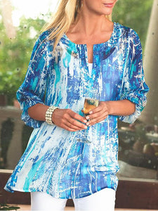 Summer Printed Shirt with V-collar and Middle Sleeve for European and American Women's Wear