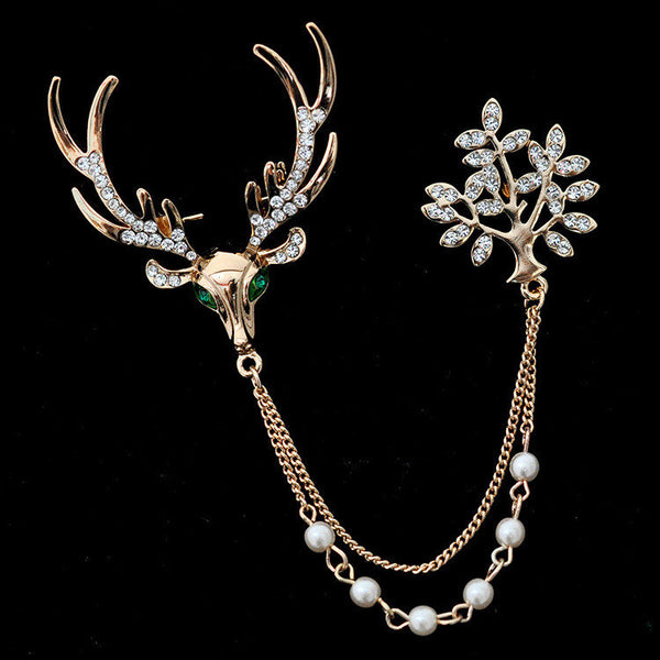 Luxury Unisex Brooch Crystal Deer Tree Artificial Pearl Christmas Brooches