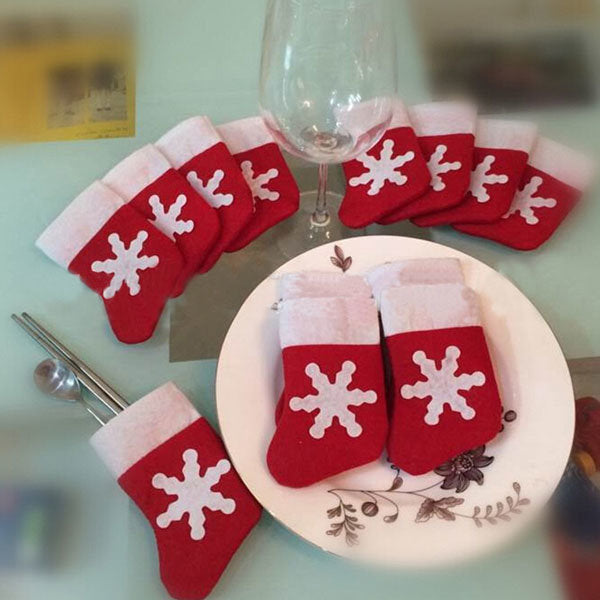 10Pcs/Set Christmas Socks Cutlery Tableware Holder Sets Dinner Decor