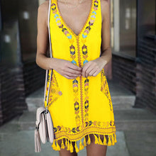 Load image into Gallery viewer, Loose A-word Skirt Tassel Folk Print Dress