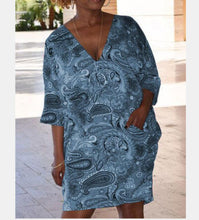 Load image into Gallery viewer, Deep V Collar Five - Sleeve Women's Dress.