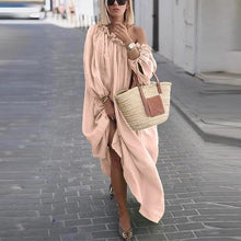 Load image into Gallery viewer, Previous Next Previous Next Classy Off-Shoulder Pure Colour Long Sleeve Dress