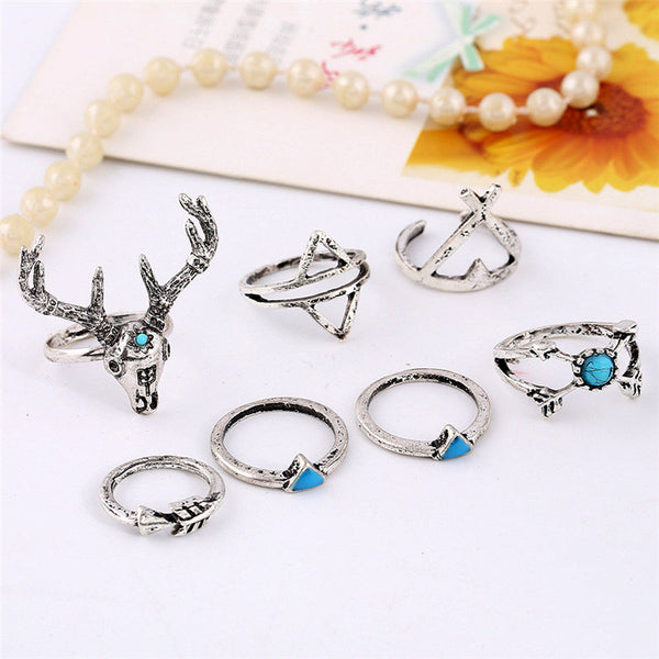 7pcs Bohemian Christmas Elk Deer Geometric Turquoise Knuckle Unique Xmas Rings