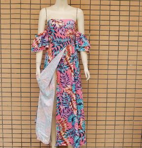 Fashionable Self-cultivating Breast-wiping Printed Dress