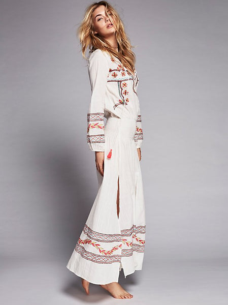 V-neck cotton bohemian embroidered waist long dress