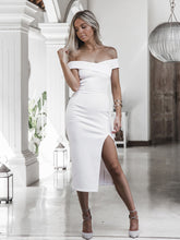 Load image into Gallery viewer, Summer off shoulder white black sexy dresses