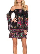 Load image into Gallery viewer, Elegant Bohemia Floral Off Shoulder Long Sleeve Mini Dress