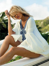 Load image into Gallery viewer, Fashion Inwrought Floral-Print Beach Mask Cover-ups Mini Dress