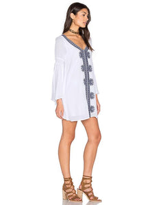 Fashion Inwrought Floral-Print Beach Mask Cover-ups Mini Dress