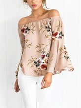 Load image into Gallery viewer, Pretty Floral Off Shoulder Trumpet Sleeve Bohemia Blouse Shirt Tops