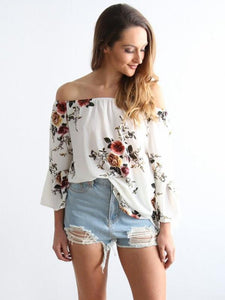 Pretty Floral Off Shoulder Trumpet Sleeve Bohemia Blouse Shirt Tops