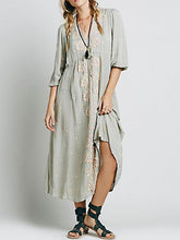 Load image into Gallery viewer, Inwrought Bohemian Half Sleeve V Neck Beach Maxi Dress