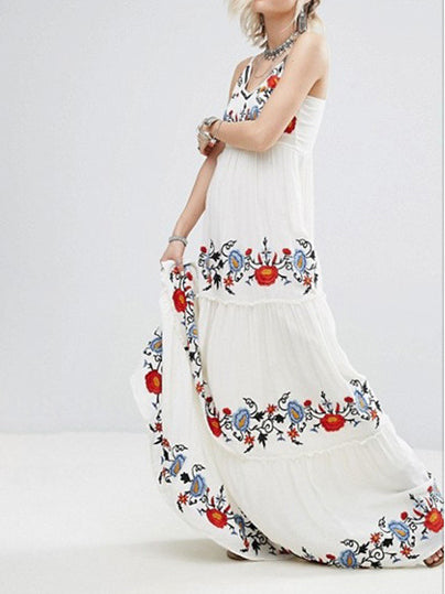 Colorful flower embroidery harness V-neck sleeveless embroidery dress