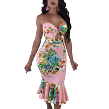 Load image into Gallery viewer, Strapless Floral Print Mermaid Bodycon Midi Dress