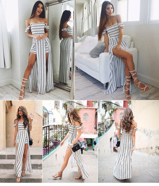 New Sexy Stripe Strapless Backless Irregular Beach Maxi Dress