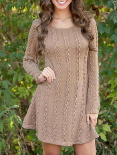 Spring four-color knit padded sweater round neck long sleeve dress
