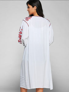 2 Colors Bohemian embroidery tassel linen long dress