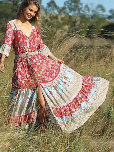 Bohemian Beach Holiday Wind Print Maxi Dress