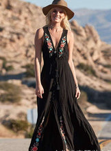 Load image into Gallery viewer, Bohemian Lace-up V-neck Embroidered Sleeveless Holiday Long Dress
