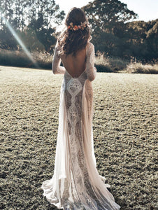 Chiffon Lace Stitching Sexy Backless Mopping Dress wedding dress