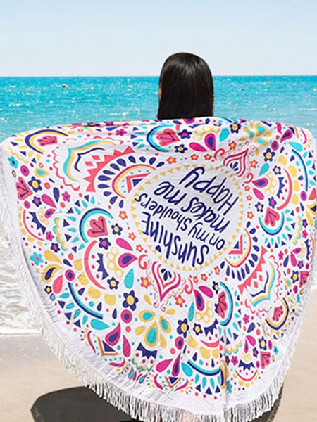 Lotus Printing Fringed Beach Towel Sun Shawl Variety Scarf Yoga Cushion Mat