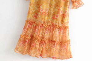 Maple Leaf Print Deep V-neck Ruffle Long Dress