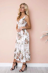 Sexy Vacation Style Printed Beach Strap Long Dress