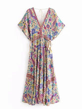 Load image into Gallery viewer, Bohemian Holiday Wind Dress Retro Peacock Print Lace Long Dress-1