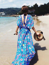 Load image into Gallery viewer, Bohemian Holiday Wind Dress Retro Peacock Print Lace Long Dress